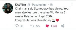 Twitter goes haywire over Stonebwoy's 1million views in just a day with his new song